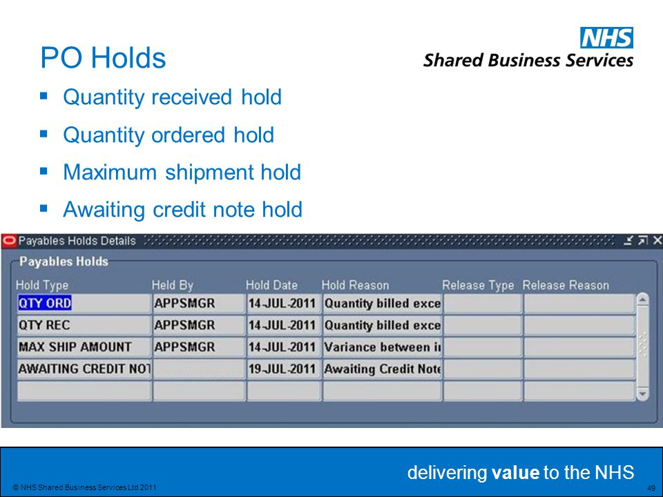 delivering value to the NHS 49 © NHS Shared Business Services Ltd 2011 PO Holds  Quantity received hold  Quantity ordered hold  Maximum shipment hold  Awaiting credit note hold