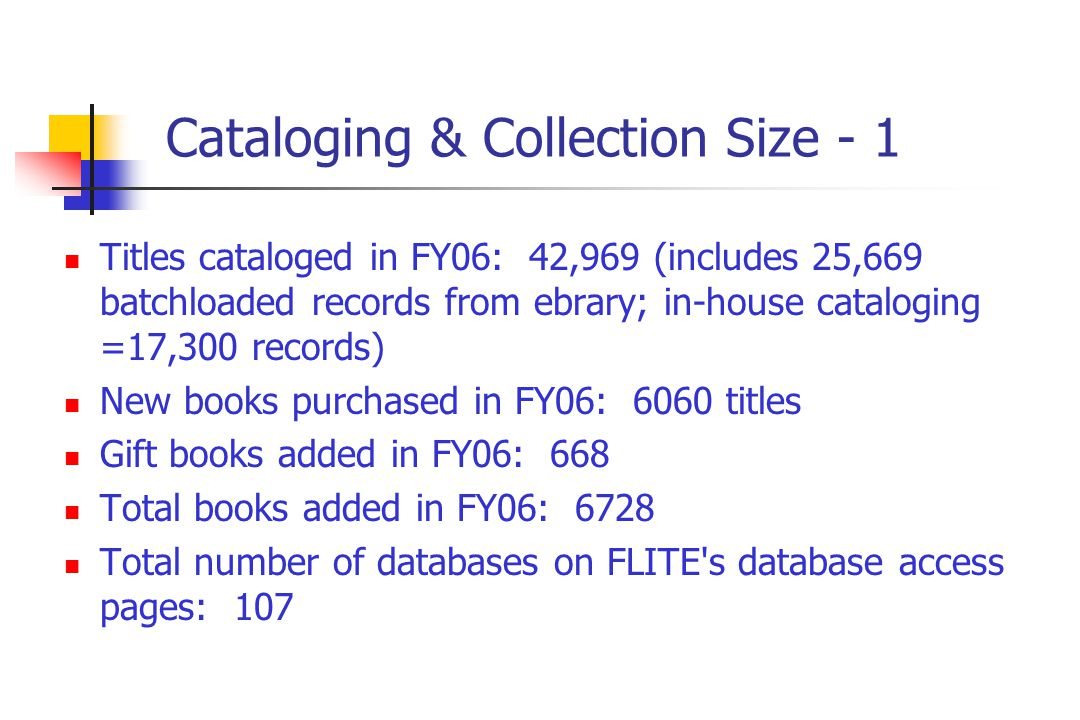 Cataloging & Collection Size - 1 Titles cataloged in FY06: 42,969 (includes 25,669 batchloaded records from ebrary; in-house cataloging =17,300 records) New books purchased in FY06: 6060 titles Gift books added in FY06: 668 Total books added in FY06: 6728 Total number of databases on FLITE s database access pages: 107