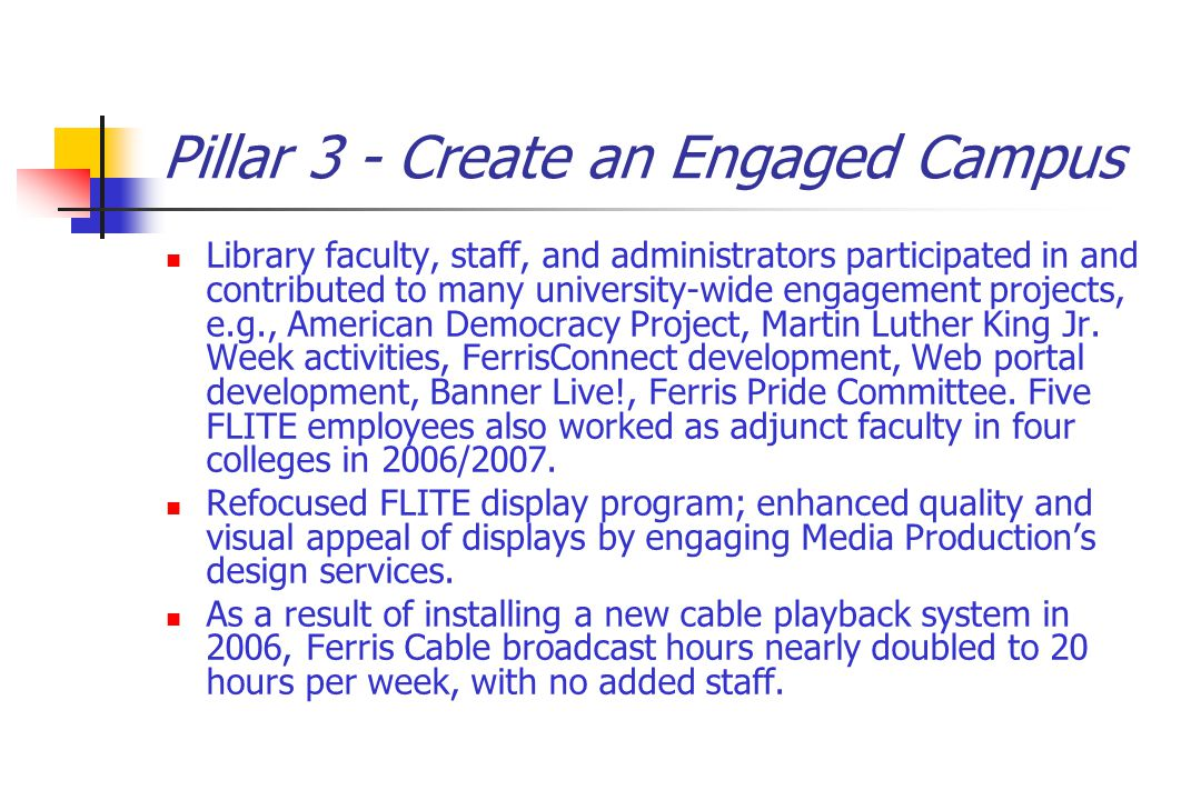 Pillar 3 - Create an Engaged Campus Library faculty, staff, and administrators participated in and contributed to many university-wide engagement projects, e.g., American Democracy Project, Martin Luther King Jr.