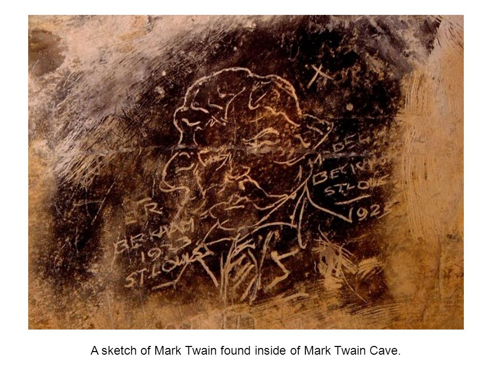 A sketch of Mark Twain found inside of Mark Twain Cave.