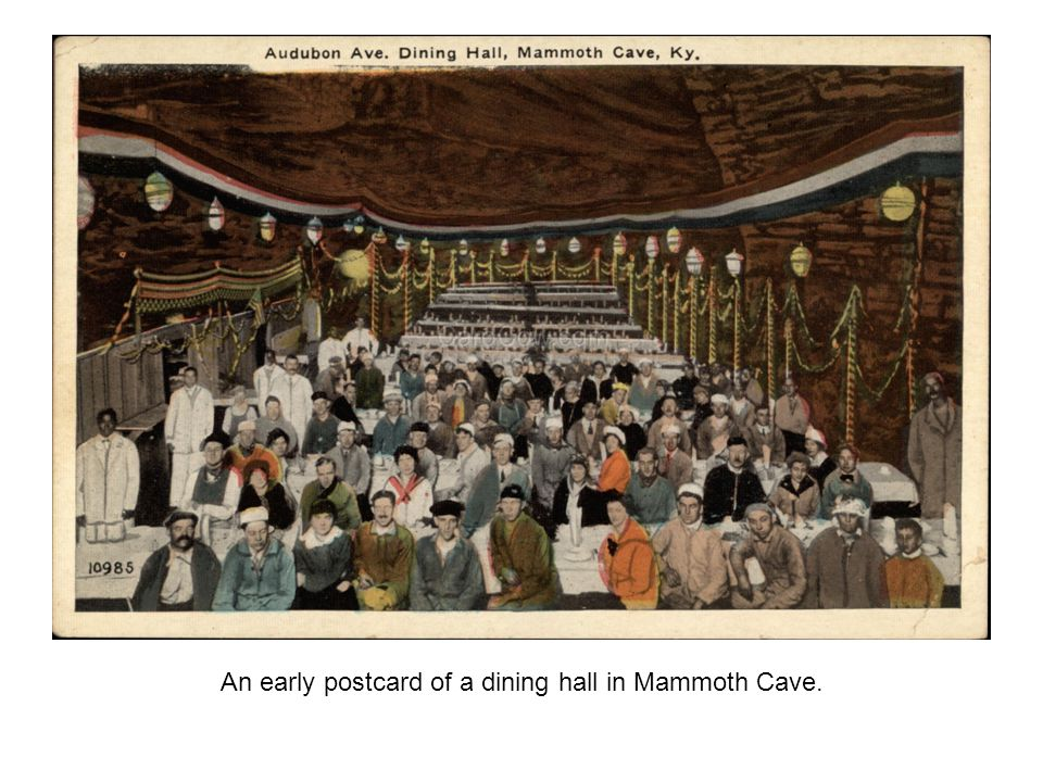 An early postcard of a dining hall in Mammoth Cave.