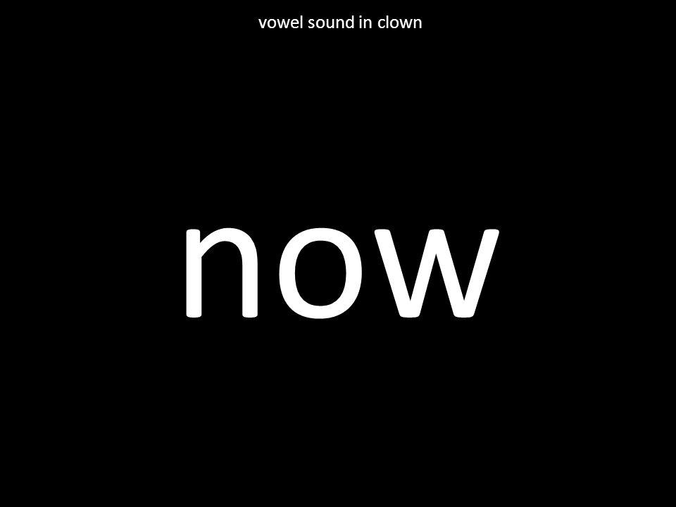 now vowel sound in clown
