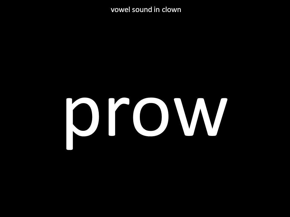 prow vowel sound in clown