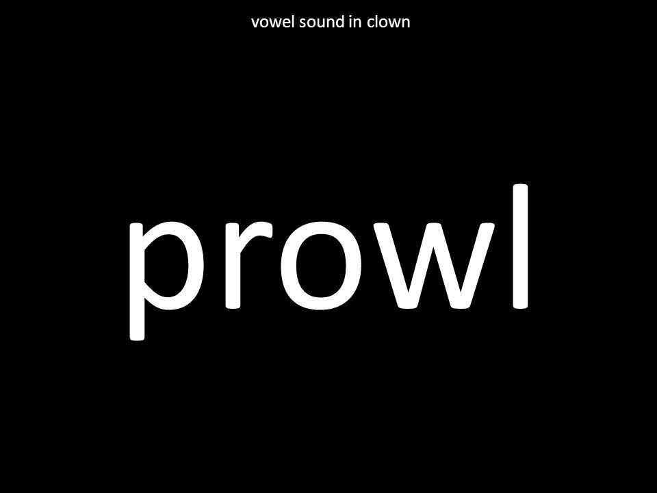 prowl vowel sound in clown