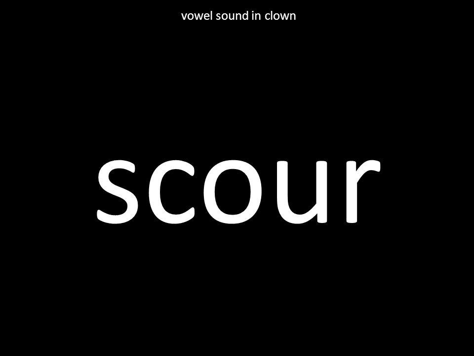 scour vowel sound in clown