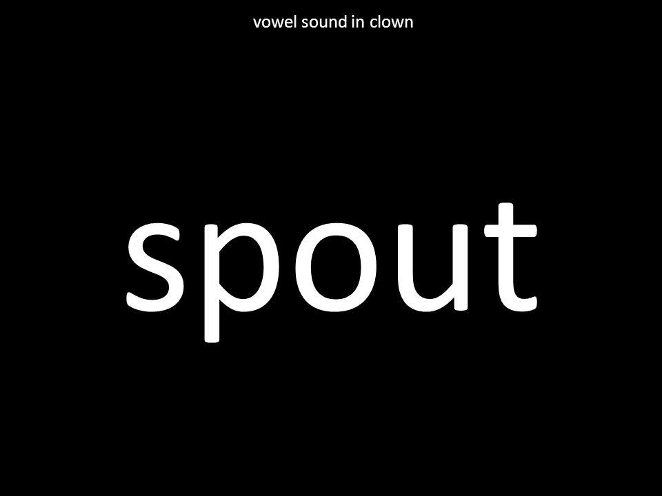 spout vowel sound in clown