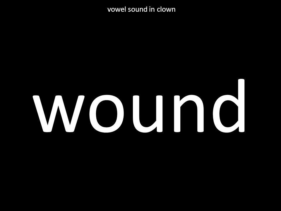 wound vowel sound in clown