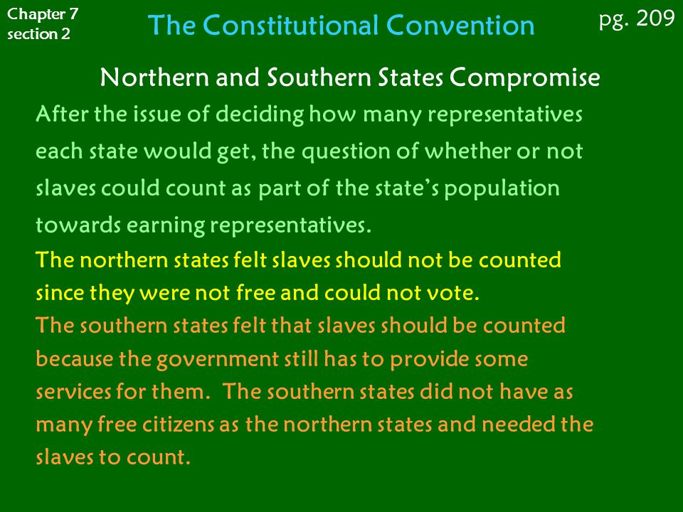 Northern and Southern States Compromise After the issue of deciding how many representatives each state would get, the question of whether or not slav