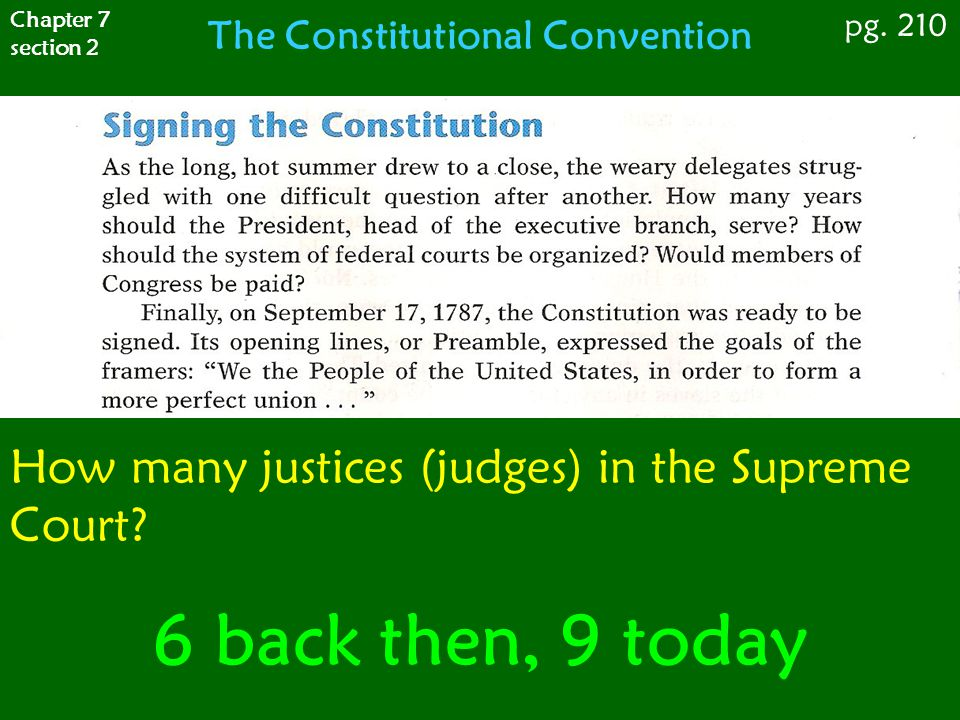 Chapter 7 section 2 pg. 210 The Constitutional Convention How many justices (judges) in the Supreme Court? 6 back then, 9 today