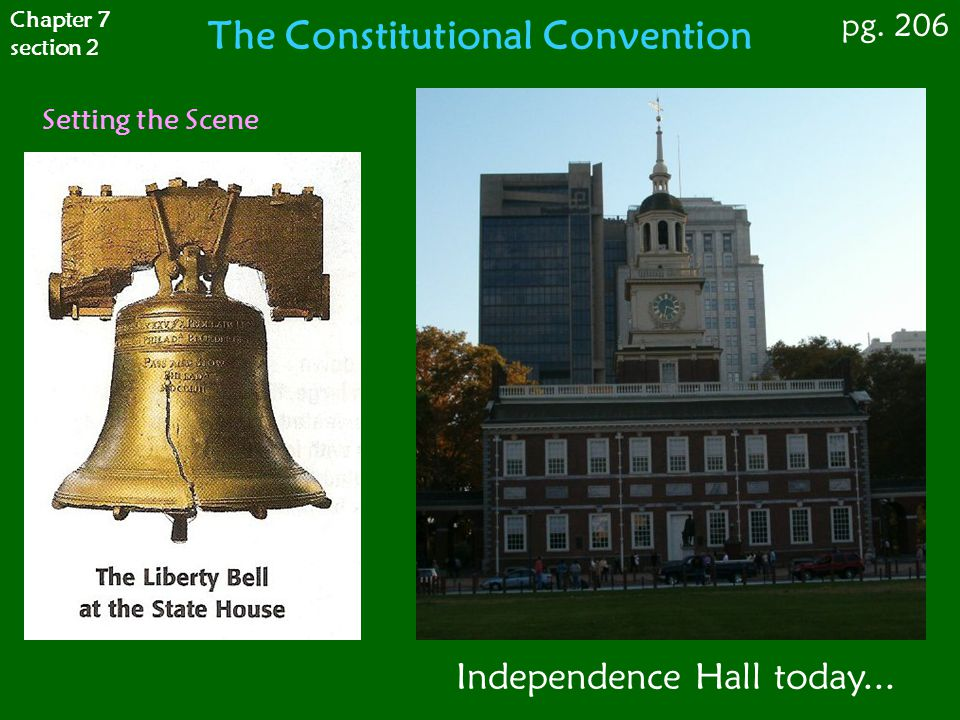Setting the Scene Chapter 7 section 2 pg. 206 The Constitutional Convention Independence Hall today...