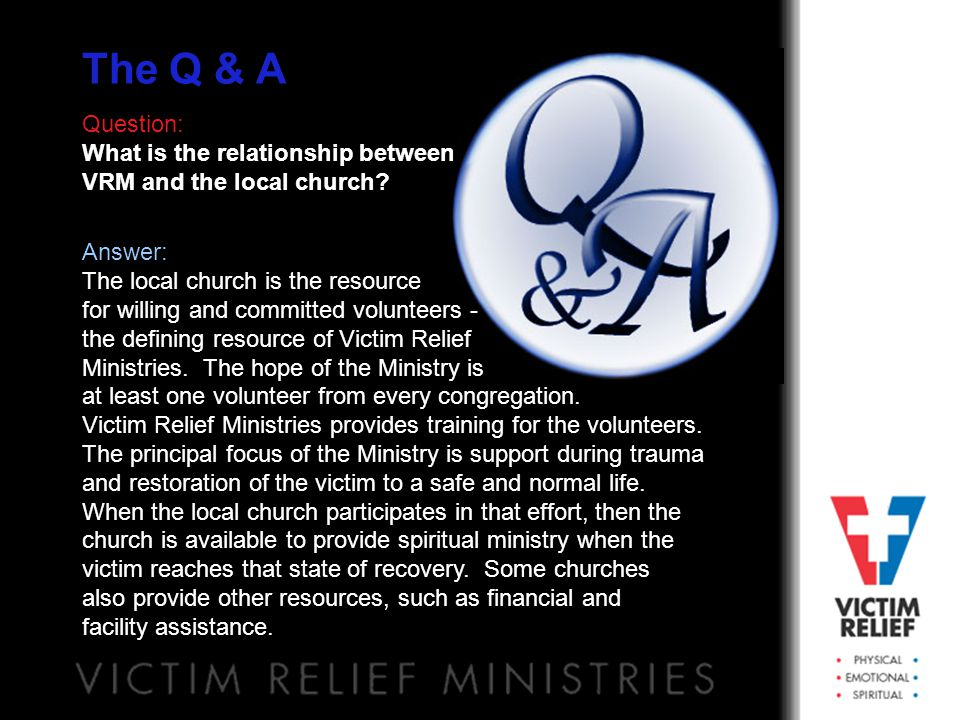 The Scope: How VRM Works Victim Relief Chaplin S.A.V.E.