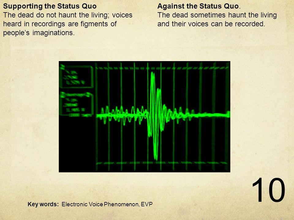 10 Electronic Voice Phenomena Against the Status Quo.