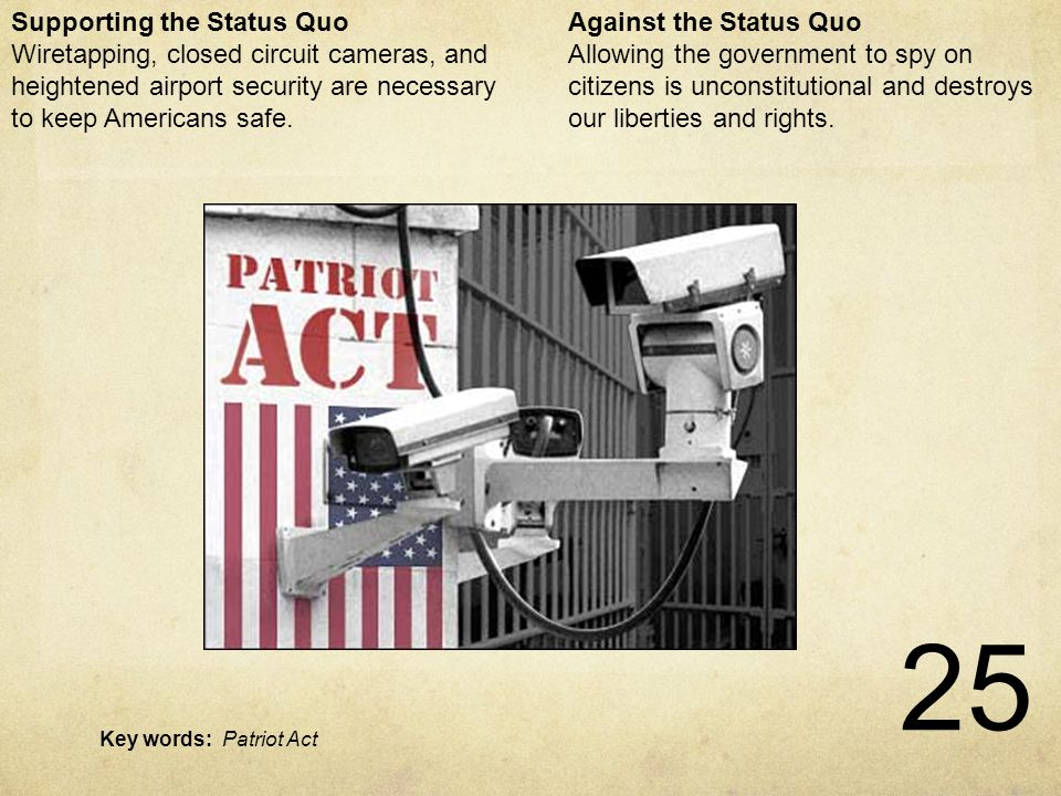 25 Patriot Act Against the Status Quo Allowing the government to spy on citizens is unconstitutional and destroys our liberties and rights.