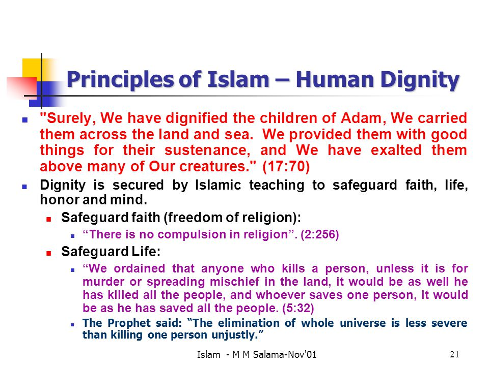 Islam - M M Salama-Nov 0121 Principles of Islam – Human Dignity Surely, We have dignified the children of Adam, We carried them across the land and sea.