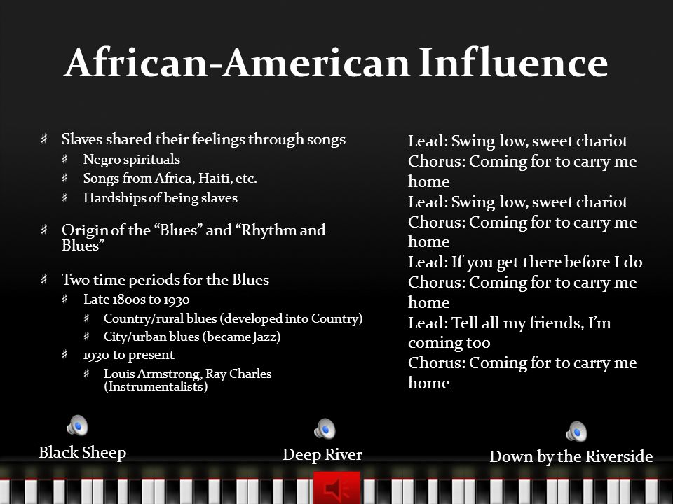 African-American Influence Slaves shared their feelings through songs Negro spirituals Songs from Africa, Haiti, etc.