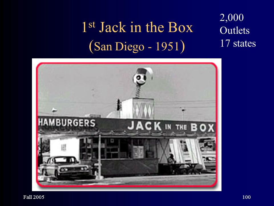 Fall 2005100 1 st Jack in the Box ( San Diego - 1951 ) 2,000 Outlets 17 states