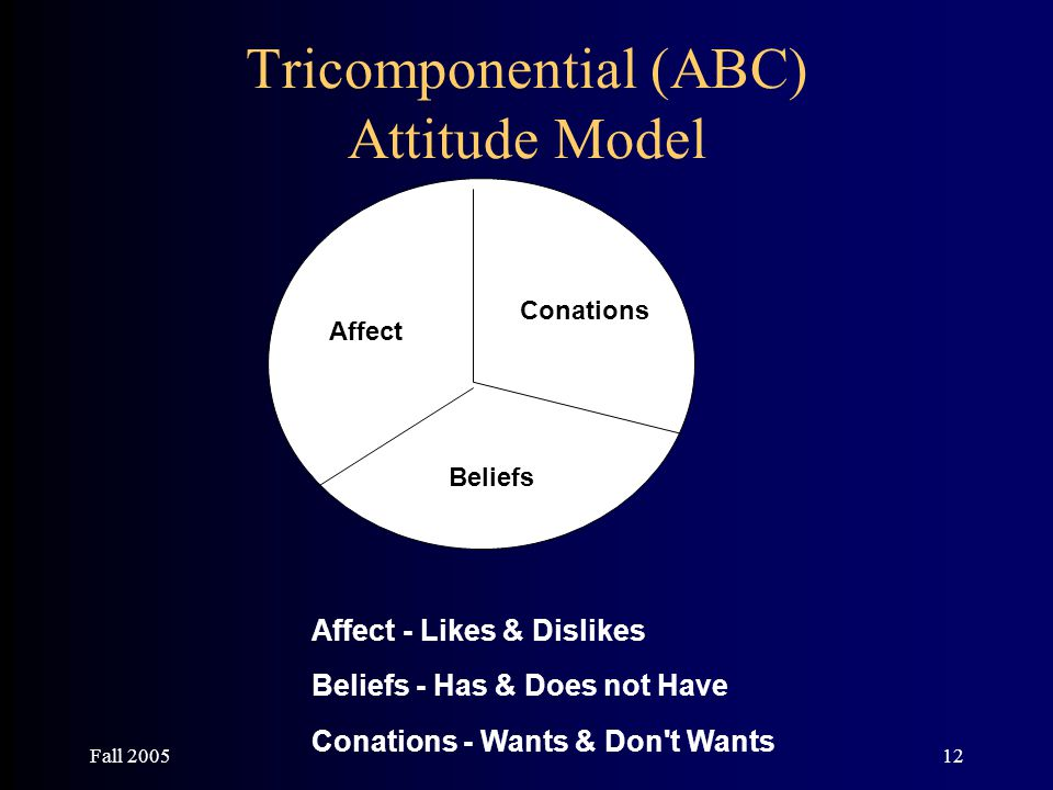 Fall 200512 Tricomponential (ABC) Attitude Model Affect Beliefs Conations Affect - Likes & Dislikes Beliefs - Has & Does not Have Conations - Wants &