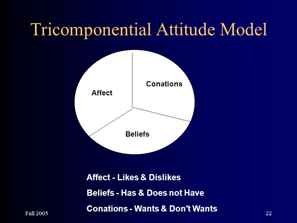 Fall 200522 Tricomponential Attitude Model Affect Beliefs Conations Affect - Likes & Dislikes Beliefs - Has & Does not Have Conations - Wants & Don't