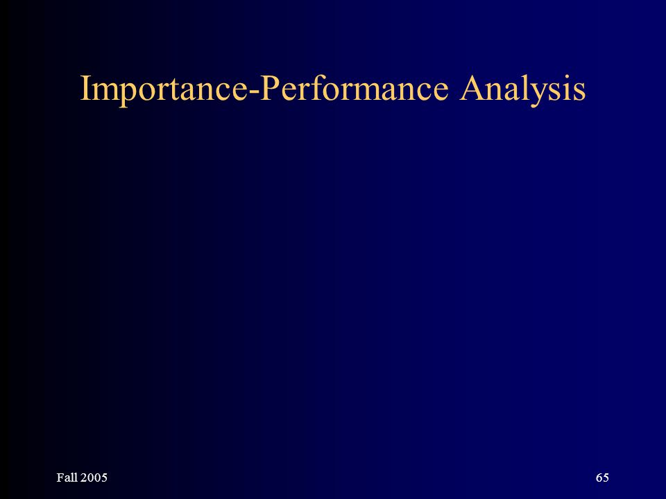 Fall 200565 Importance-Performance Analysis