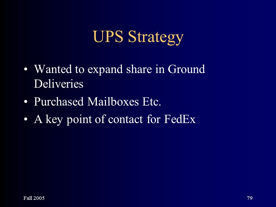 Fall 200579 UPS Strategy Wanted to expand share in Ground Deliveries Purchased Mailboxes Etc. A key point of contact for FedEx