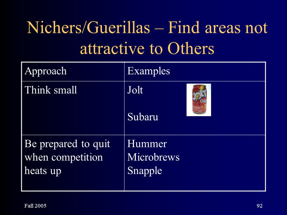 Fall 200592 Nichers/Guerillas – Find areas not attractive to Others ApproachExamples Think smallJolt Subaru Be prepared to quit when competition heats