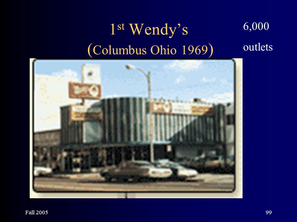 Fall 200599 1 st Wendy's ( Columbus Ohio 1969 ) 6,000 outlets