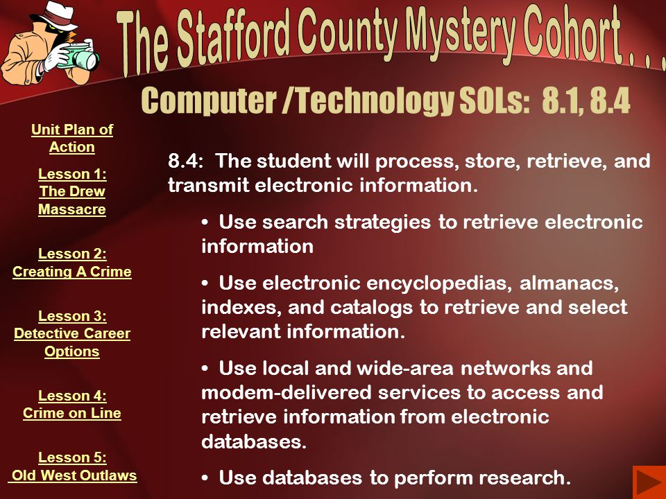 Computer /Technology SOLs: 8.1, 8.4 8.4: The student will process, store, retrieve, and transmit electronic information. Use search strategies to retr