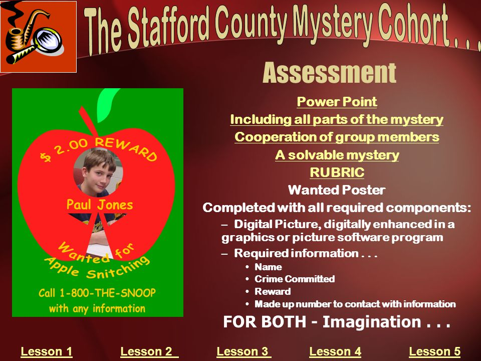 Assessment Power Point Including all parts of the mystery Cooperation of group members A solvable mystery RUBRIC Wanted Poster Completed with all requ