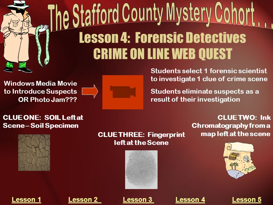 Lesson 4: Forensic Detectives CRIME ON LINE WEB QUEST CLUE ONE: SOIL Left at Scene – Soil Specimen CLUE TWO: Ink Chromatography from a map left at the scene CLUE THREE: Fingerprint left at the Scene Windows Media Movie to Introduce Suspects OR Photo Jam??.