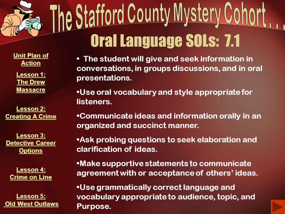 Oral Language SOLs: 7.1 The student will give and seek information in conversations, in groups discussions, and in oral presentations.