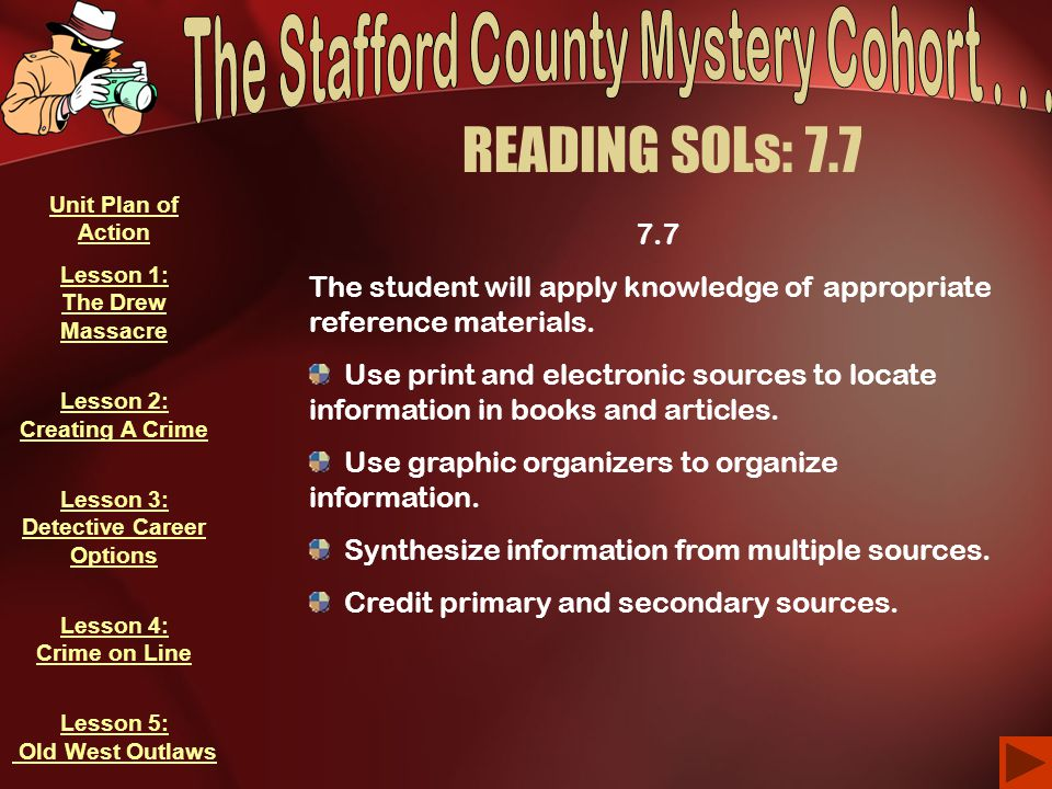 READING SOLs: 7.7 7.7 The student will apply knowledge of appropriate reference materials. Use print and electronic sources to locate information in b