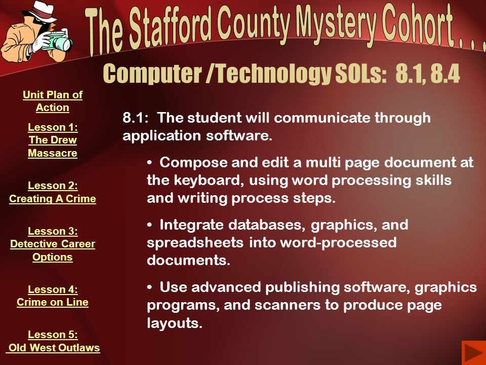 Computer /Technology SOLs: 8.1, 8.4 8.1: The student will communicate through application software. Compose and edit a multi page document at the keyb