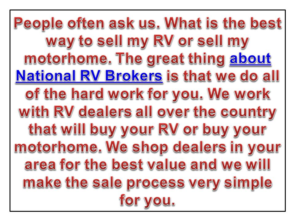 Buy MY RV or Motor Home