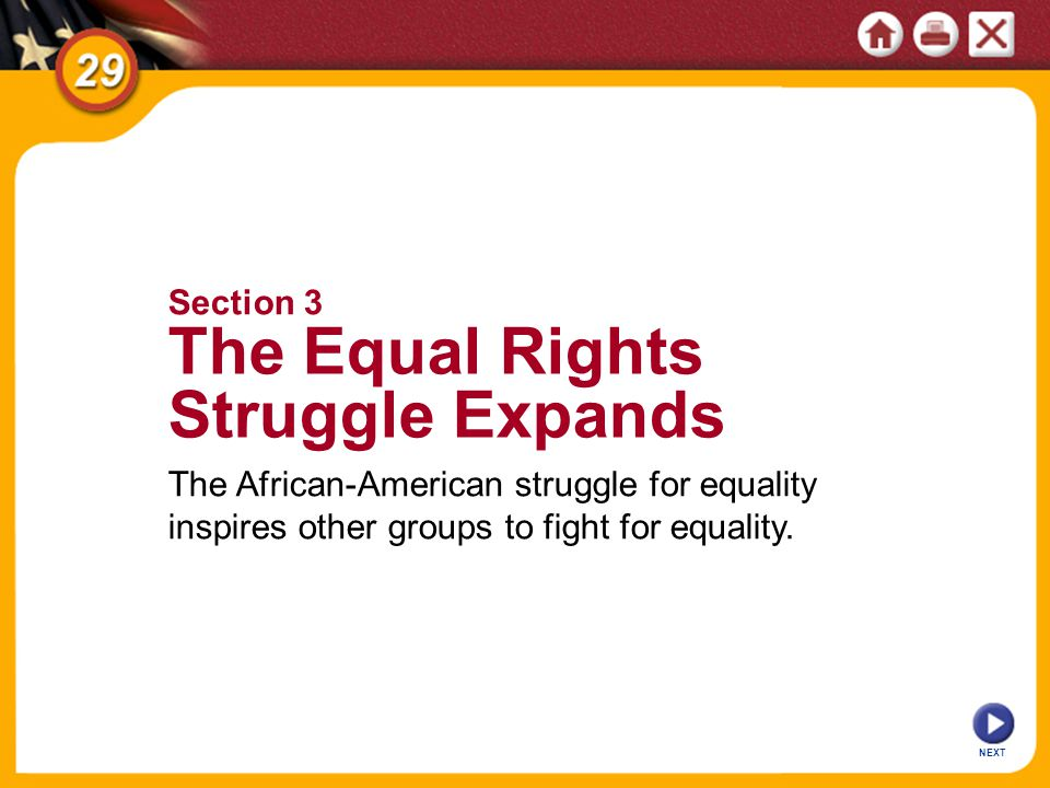 NEXT The African-American struggle for equality inspires other groups to fight for equality.