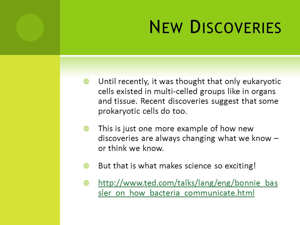 N EW D ISCOVERIES  Until recently, it was thought that only eukaryotic cells existed in multi-celled groups like in organs and tissue.