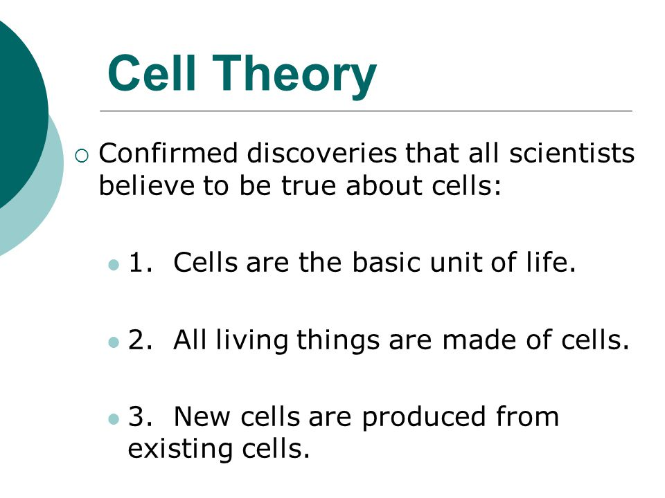 Cell Theory  Confirmed discoveries that all scientists believe to be true about cells: 1. Cells are the basic unit of life. 2. All living things are