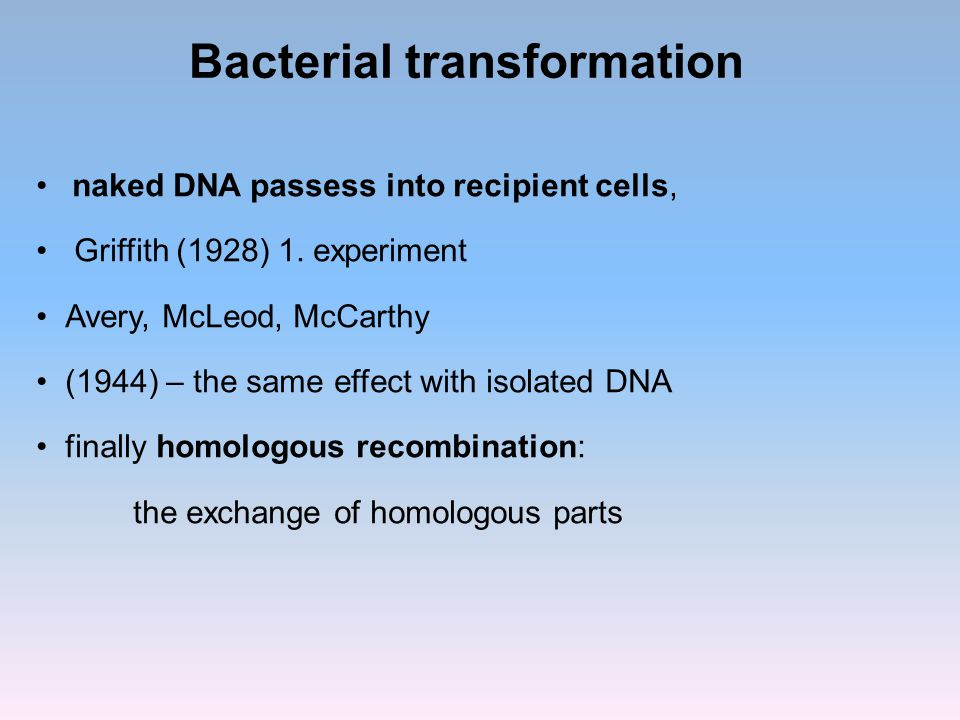 Bacterial transformation naked DNA passess into recipient cells, Griffith (1928) 1. experiment Avery, McLeod, McCarthy (1944) – the same effect with i