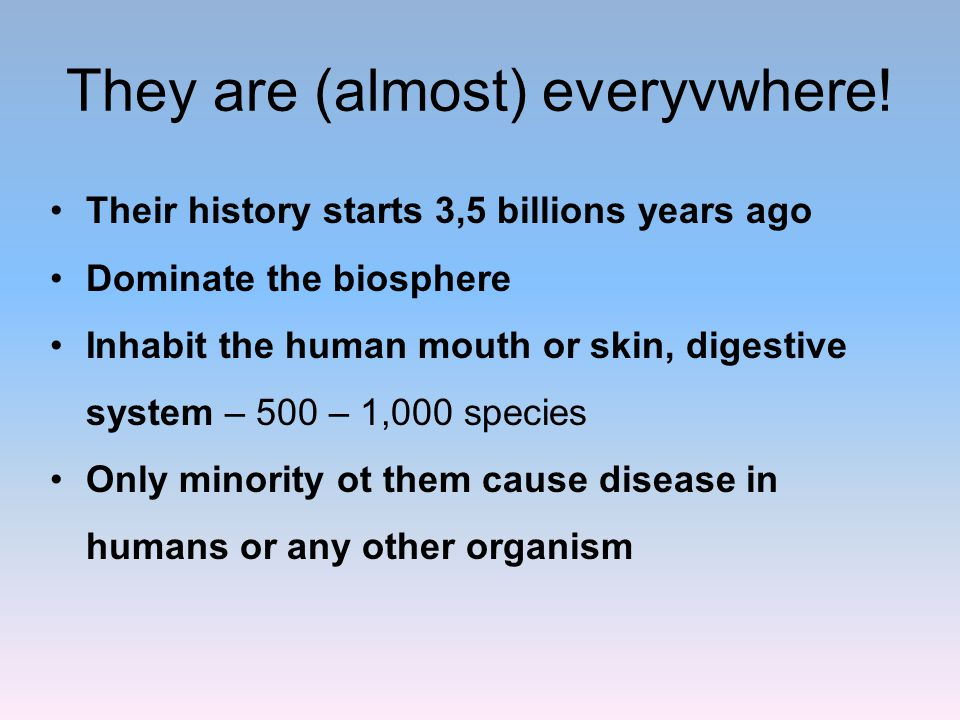 They are (almost) everyvwhere! Their history starts 3,5 billions years ago Dominate the biosphere Inhabit the human mouth or skin, digestive system –
