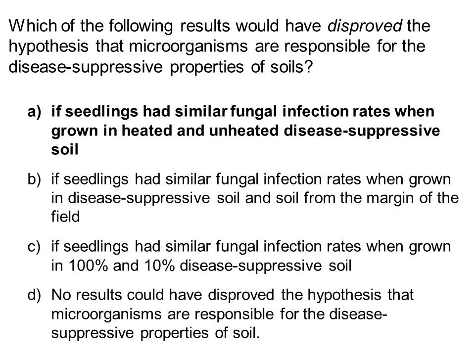 Which of the following results would have disproved the hypothesis that microorganisms are responsible for the disease-suppressive properties of soils.