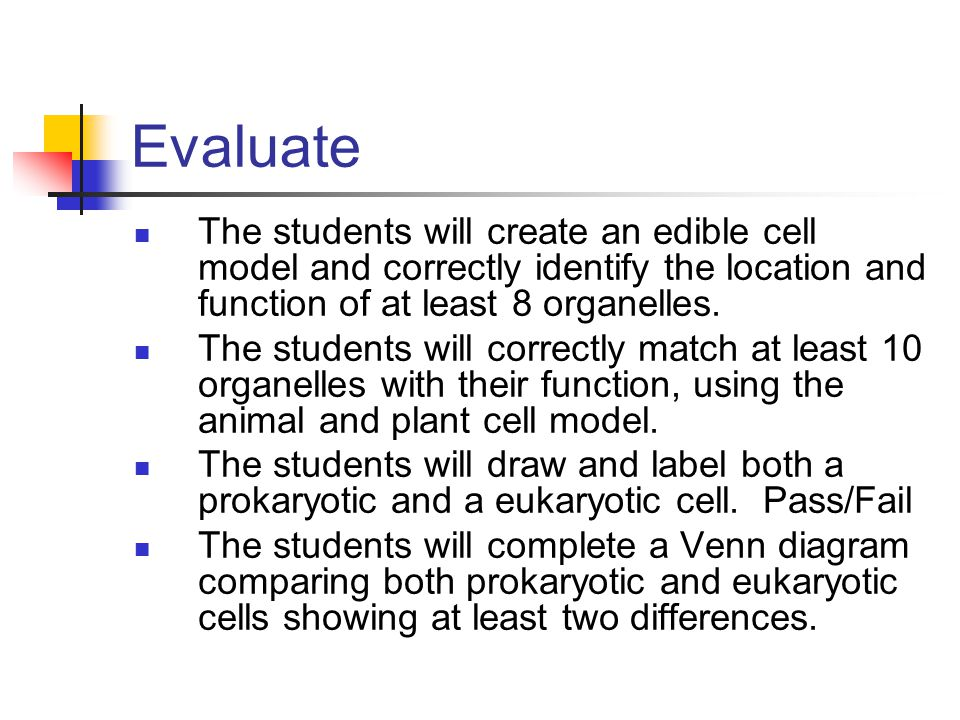 Evaluate The students will create an edible cell model and correctly identify the location and function of at least 8 organelles. The students will co