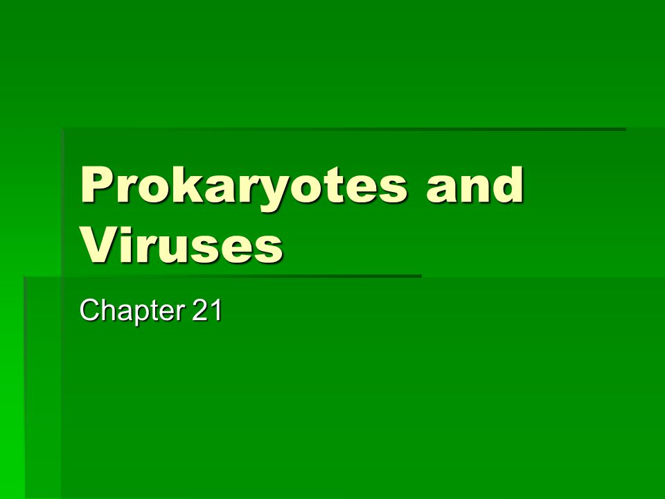 Prokaryotes and Viruses Chapter 21
