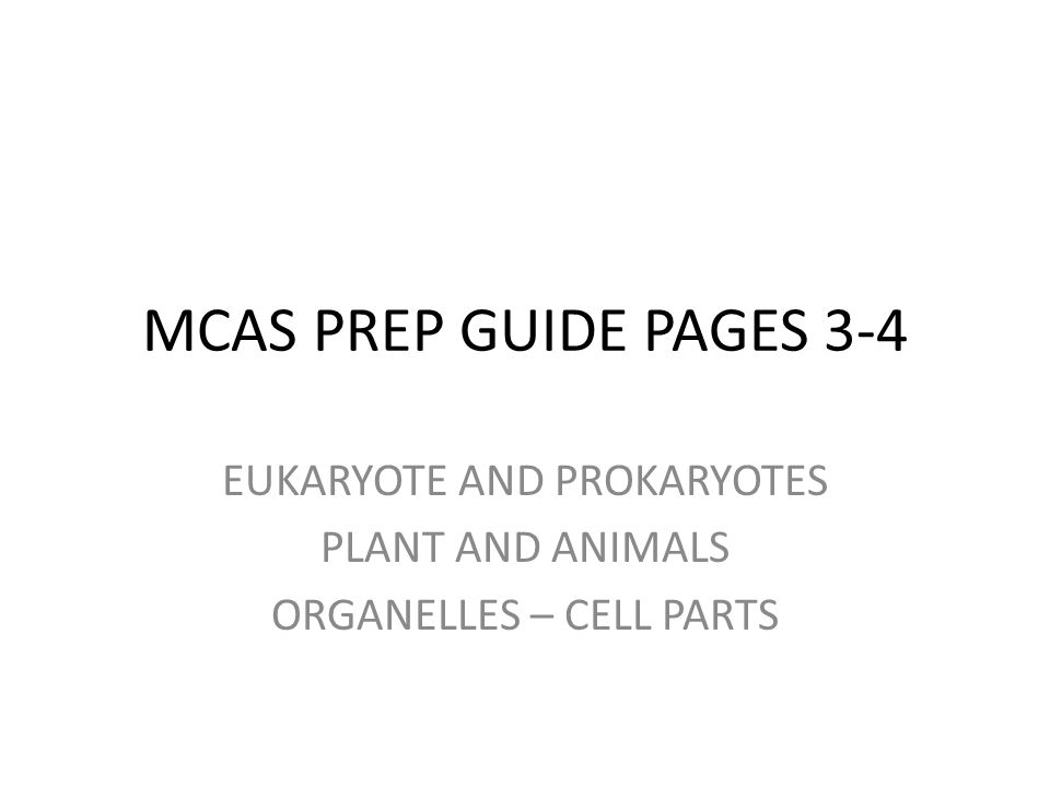 MCAS PREP GUIDE PAGES 3-4 EUKARYOTE AND PROKARYOTES PLANT AND ANIMALS ORGANELLES – CELL PARTS