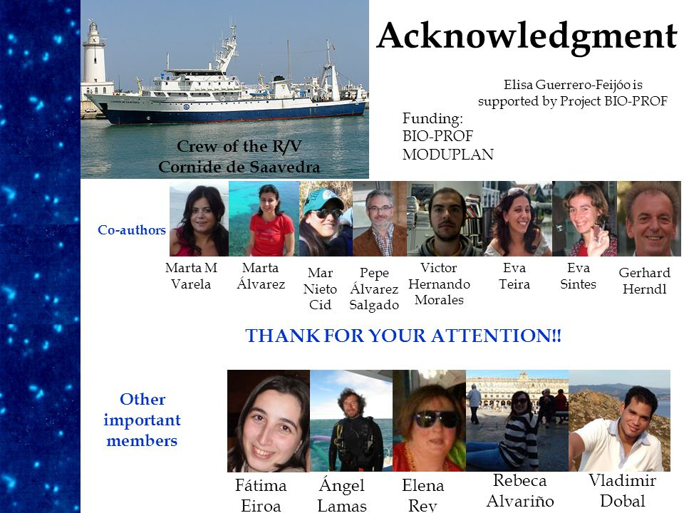 Acknowledgment Fátima Eiroa Elena Rey Ángel Lamas Rebeca Alvariño Vladimir Dobal Other important members Crew of the R/V Cornide de Saavedra Co-authors Marta M Varela Mar Nieto Cid Pepe Álvarez Salgado Victor Hernando Morales Eva Sintes Eva Teira Gerhard Herndl Marta Álvarez Funding: BIO-PROF MODUPLAN Elisa Guerrero-Feijóo is supported by Project BIO-PROF THANK FOR YOUR ATTENTION!!