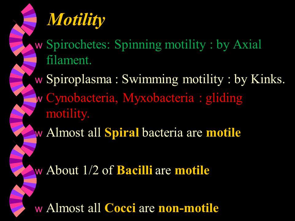 Motility w Spirochetes: Spinning motility : by Axial filament. w Spiroplasma : Swimming motility : by Kinks. w Cynobacteria, Myxobacteria : gliding mo