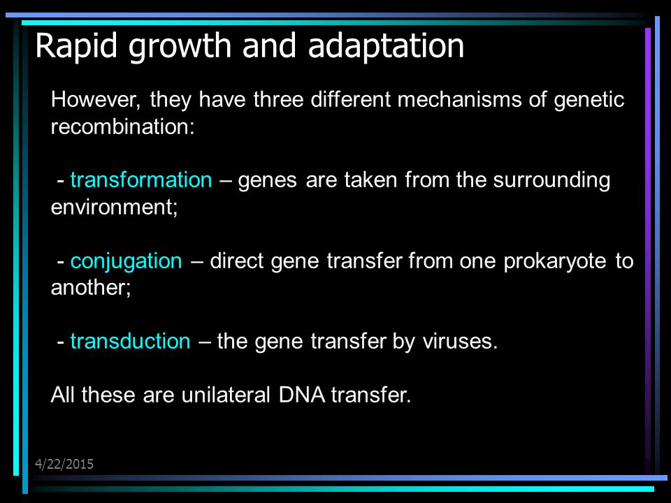 4/22/2015 Rapid growth and adaptation However, they have three different mechanisms of genetic recombination: - transformation – genes are taken from