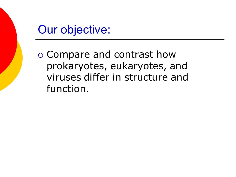 Our objective:  Compare and contrast how prokaryotes, eukaryotes, and viruses differ in structure and function.