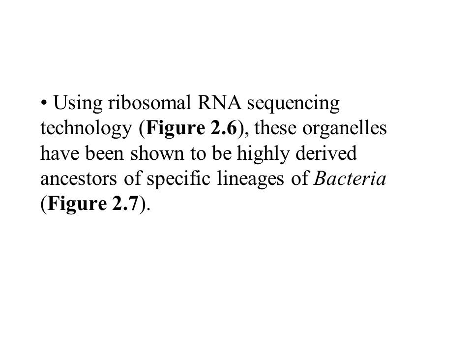 Using ribosomal RNA sequencing technology (Figure 2.6), these organelles have been shown to be highly derived ancestors of specific lineages of Bacter
