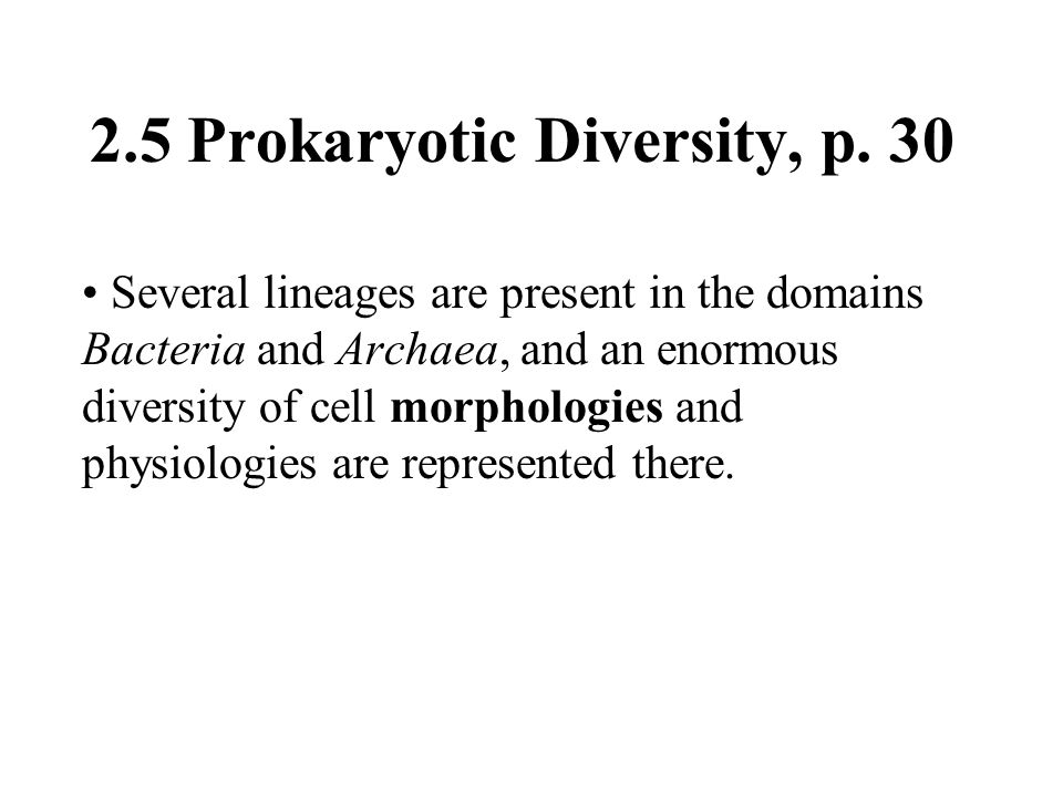 2.5 Prokaryotic Diversity, p. 30 Several lineages are present in the domains Bacteria and Archaea, and an enormous diversity of cell morphologies and