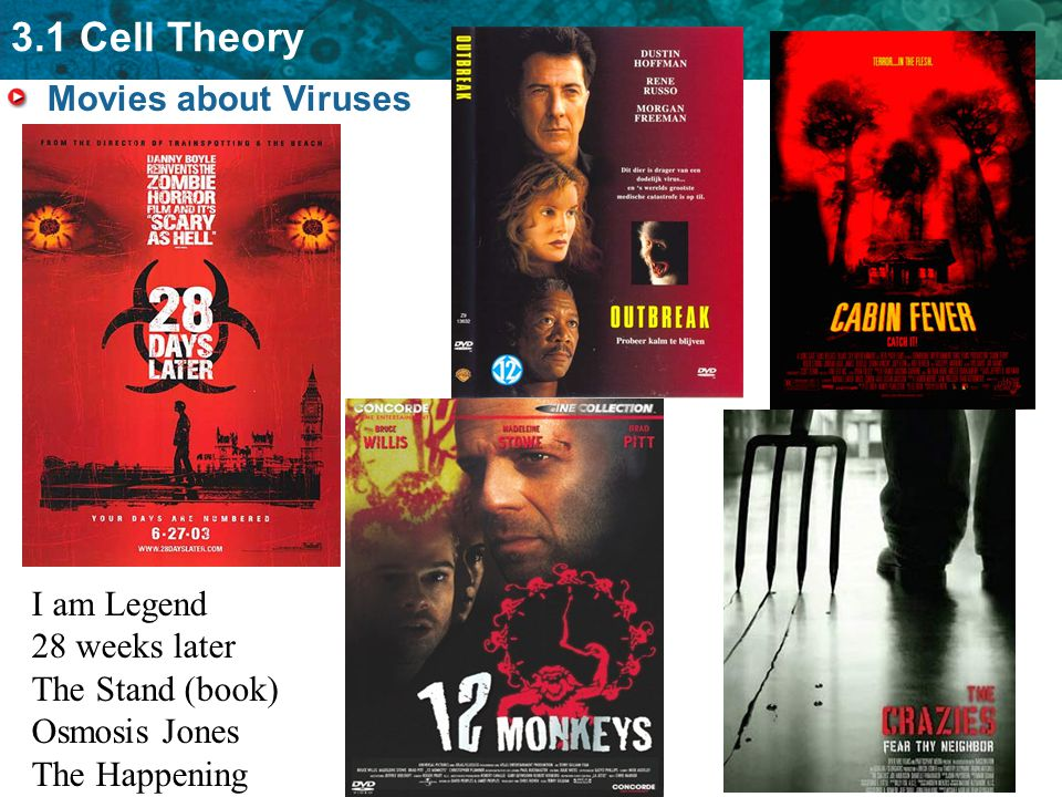3.1 Cell Theory Movies about Viruses I am Legend 28 weeks later The Stand (book) Osmosis Jones The Happening