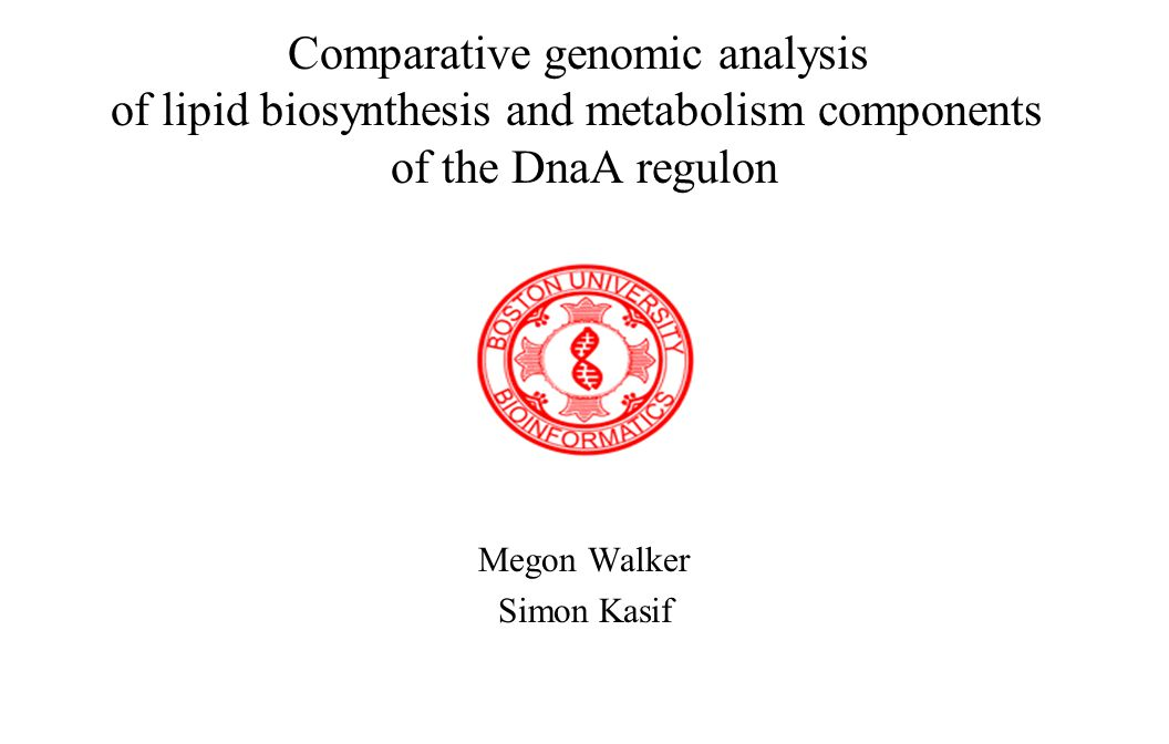 Comparative genomic analysis of lipid biosynthesis and metabolism components of the DnaA regulon Megon Walker Simon Kasif